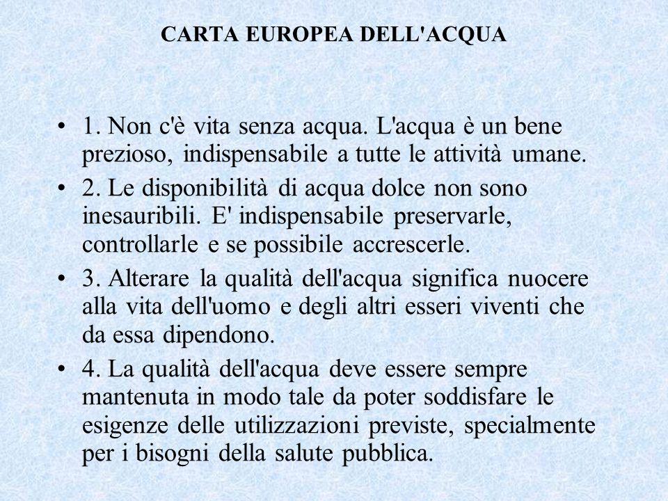 Abbiamo analizzato la carta dellacqua Prima il testo integrale Nel maggio1968 il Consiglio d'Europa ha formulato la