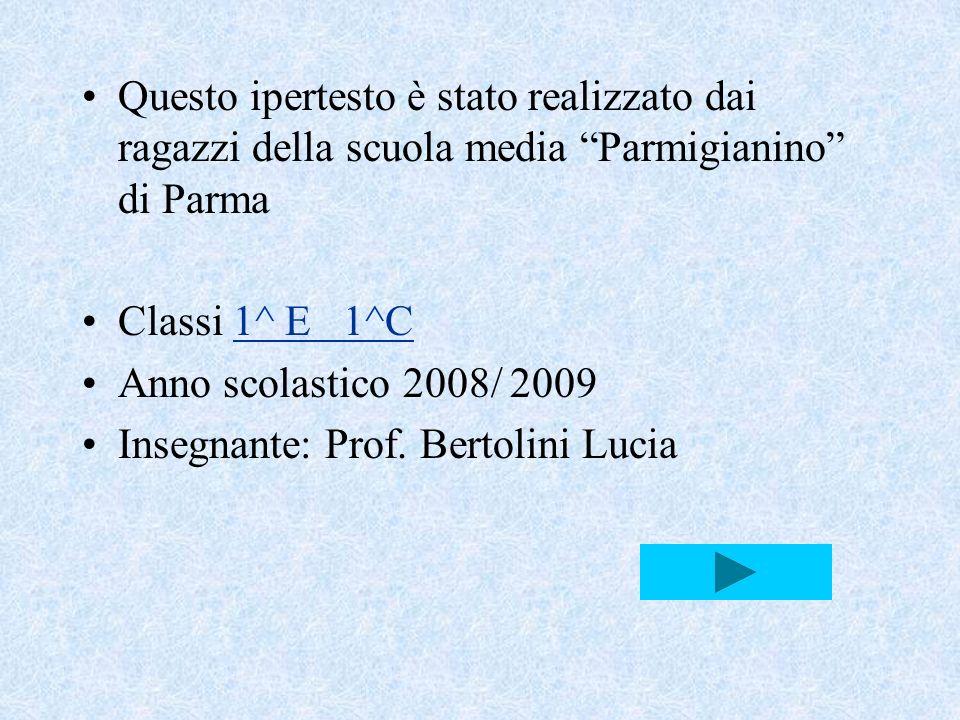 Questo ipertesto è stato realizzato dai ragazzi della scuola media Parmigianino di Parma Classi 1^ E 1^C1^ E 1^C Anno scolastico 2008/ 2009 Insegnante: Prof.