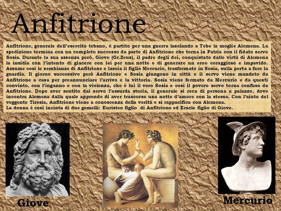 Anfitrione Giove Mercurio Anfitrione, generale dellesercito tebano, è partito per una guerra lasciando a Tebe la moglie Alcmena.