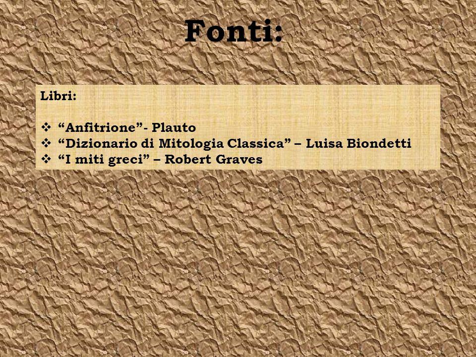 Fonti: Libri: Anfitrione- Plauto Dizionario di Mitologia Classica – Luisa Biondetti I miti greci – Robert Graves
