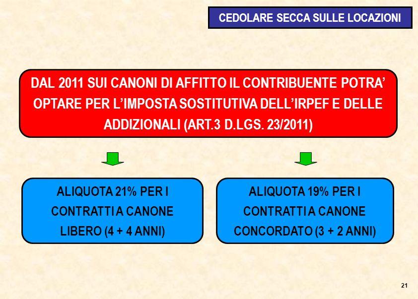 DAL 2011 SUI CANONI DI AFFITTO IL CONTRIBUENTE POTRA OPTARE PER LIMPOSTA SOSTITUTIVA DELLIRPEF E DELLE ADDIZIONALI (ART.3 D.LGS.