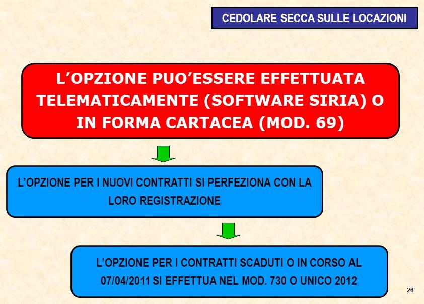 LOPZIONE PUOESSERE EFFETTUATA TELEMATICAMENTE (SOFTWARE SIRIA) O IN FORMA CARTACEA (MOD.
