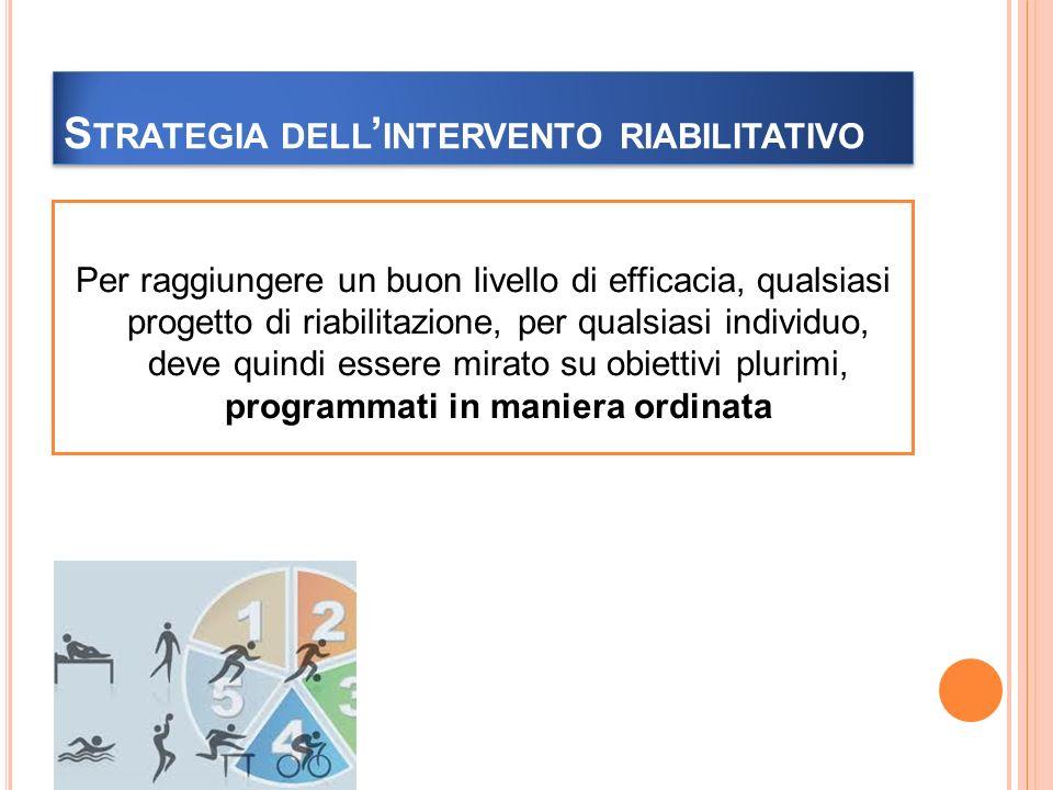S TRATEGIA DELL INTERVENTO RIABILITATIVO Per raggiungere un buon livello di efficacia, qualsiasi progetto di riabilitazione, per qualsiasi individuo, deve quindi essere mirato su obiettivi plurimi, programmati in maniera ordinata