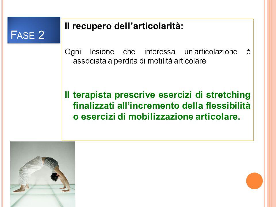 Il recupero dellarticolarità: Ogni lesione che interessa unarticolazione è associata a perdita di motilità articolare Il terapista prescrive esercizi di stretching finalizzati allincremento della flessibilità o esercizi di mobilizzazione articolare.