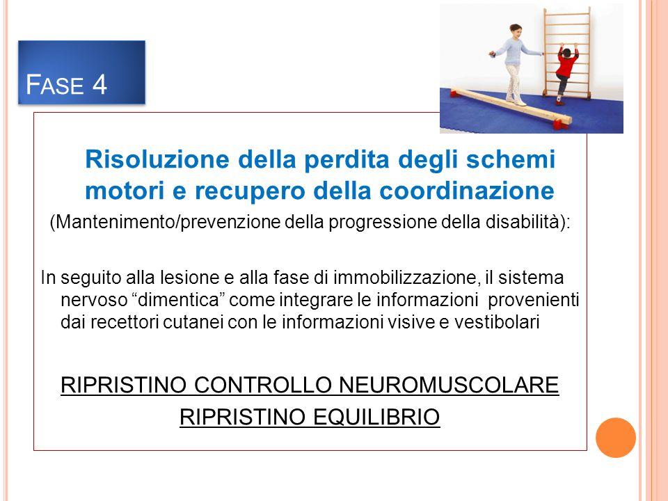 Risoluzione della perdita degli schemi motori e recupero della coordinazione (Mantenimento/prevenzione della progressione della disabilità): In seguito alla lesione e alla fase di immobilizzazione, il sistema nervoso dimentica come integrare le informazioni provenienti dai recettori cutanei con le informazioni visive e vestibolari RIPRISTINO CONTROLLO NEUROMUSCOLARE RIPRISTINO EQUILIBRIO F ASE 4