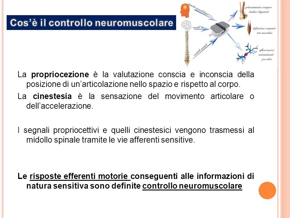 La propriocezione è la valutazione conscia e inconscia della posizione di unarticolazione nello spazio e rispetto al corpo.