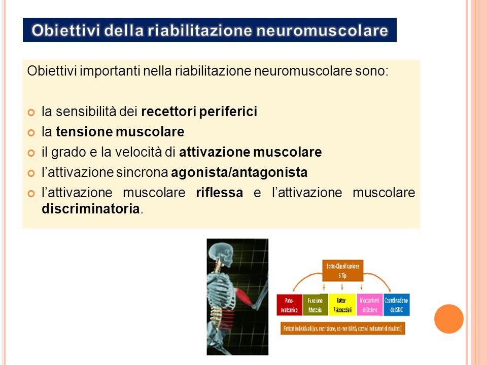 Obiettivi importanti nella riabilitazione neuromuscolare sono: la sensibilità dei recettori periferici la tensione muscolare il grado e la velocità di attivazione muscolare lattivazione sincrona agonista/antagonista lattivazione muscolare riflessa e lattivazione muscolare discriminatoria.
