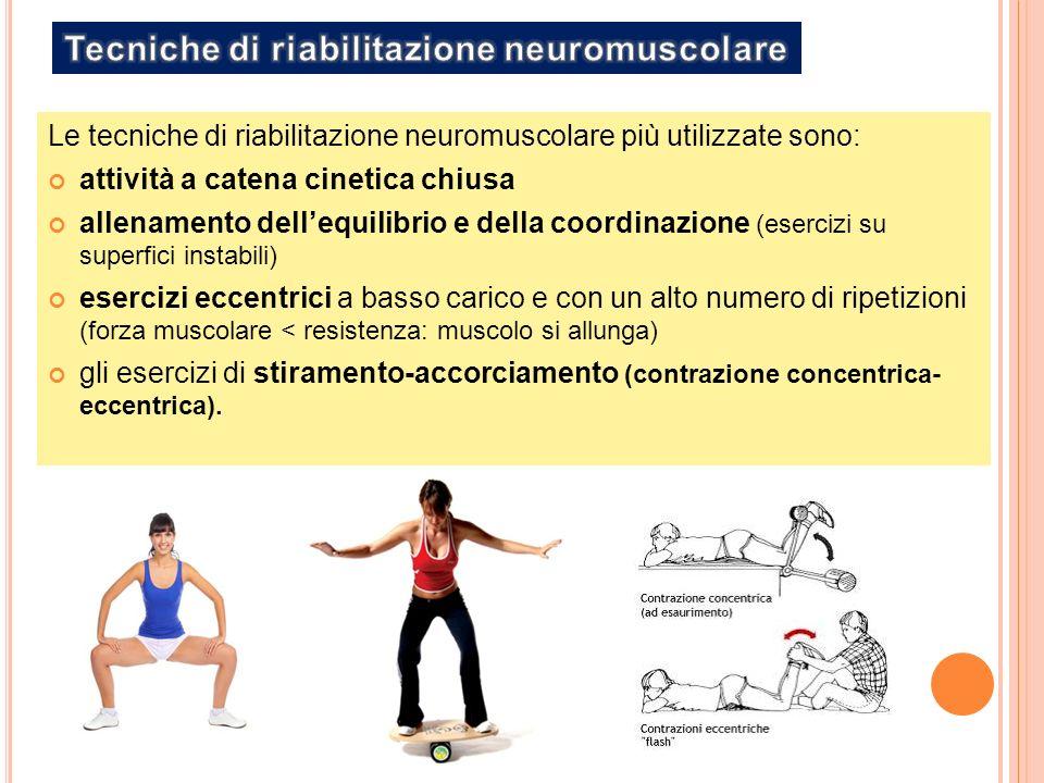 Le tecniche di riabilitazione neuromuscolare più utilizzate sono: attività a catena cinetica chiusa allenamento dellequilibrio e della coordinazione (esercizi su superfici instabili) esercizi eccentrici a basso carico e con un alto numero di ripetizioni (forza muscolare < resistenza: muscolo si allunga) gli esercizi di stiramento-accorciamento (contrazione concentrica- eccentrica).