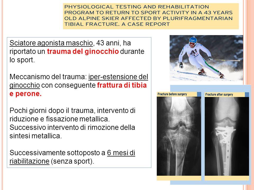 Sciatore agonista maschio, 43 anni, ha riportato un trauma del ginocchio durante lo sport.