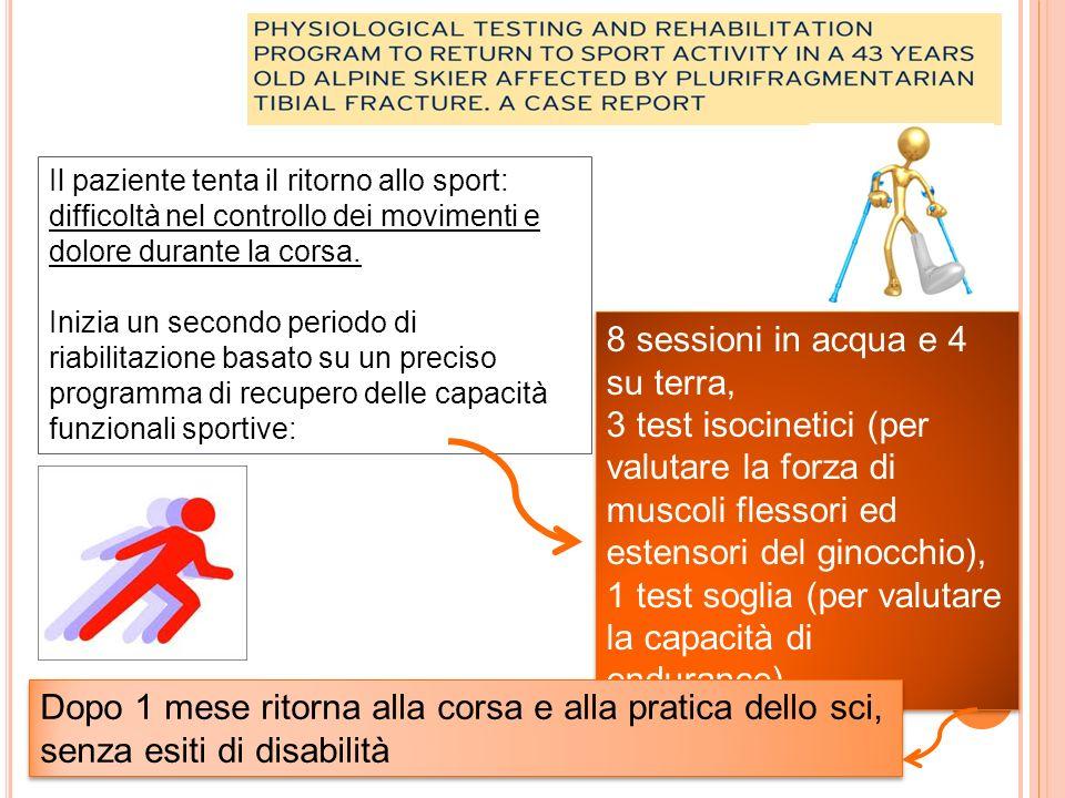 Il paziente tenta il ritorno allo sport: difficoltà nel controllo dei movimenti e dolore durante la corsa.