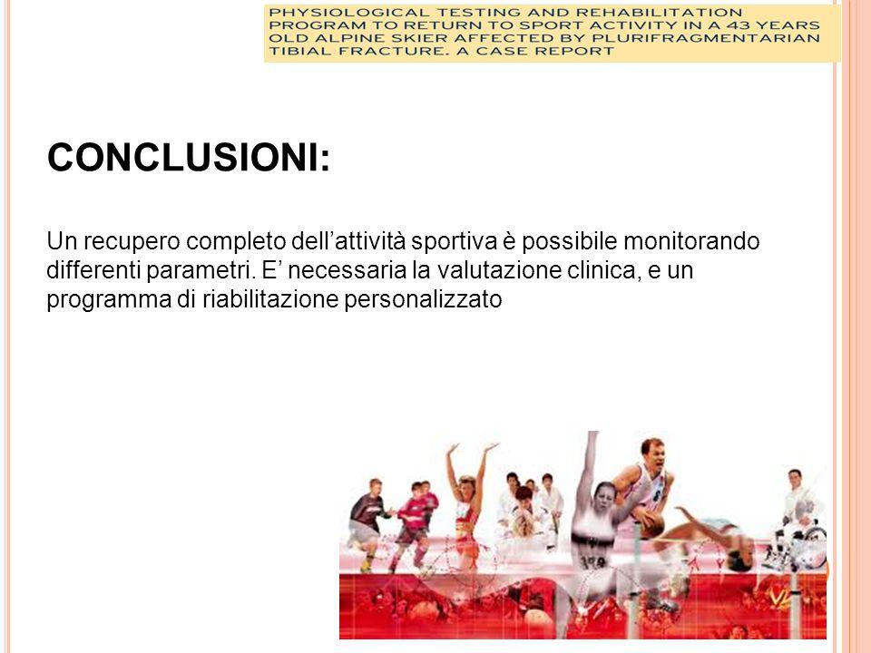 CONCLUSIONI: Un recupero completo dellattività sportiva è possibile monitorando differenti parametri.