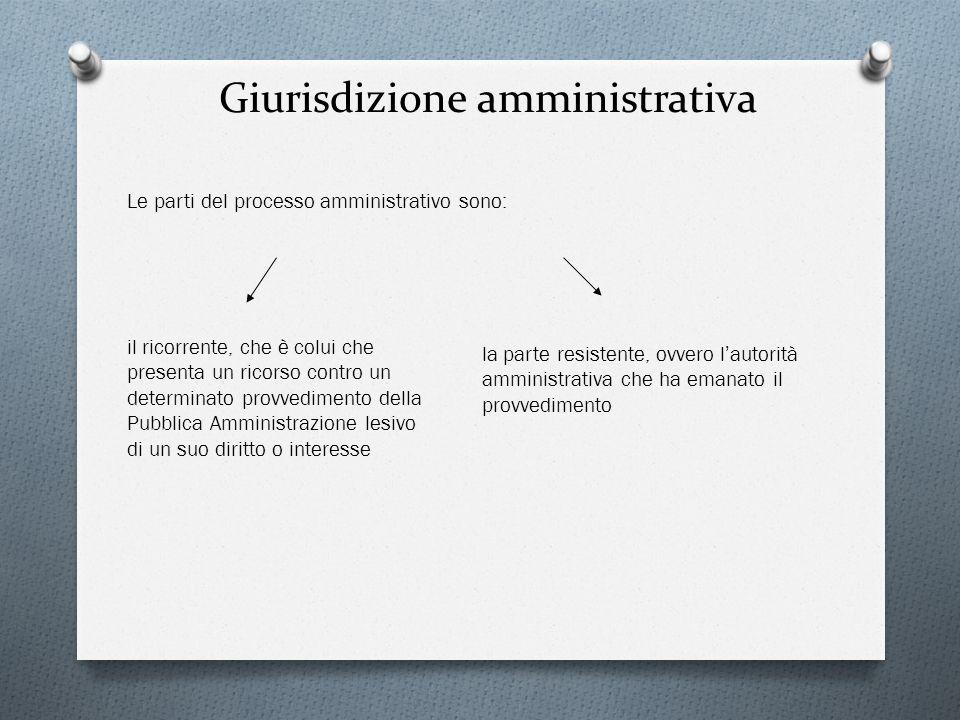 Giurisdizione amministrativa Le parti del processo amministrativo sono: il ricorrente, che è colui che presenta un ricorso contro un determinato provv