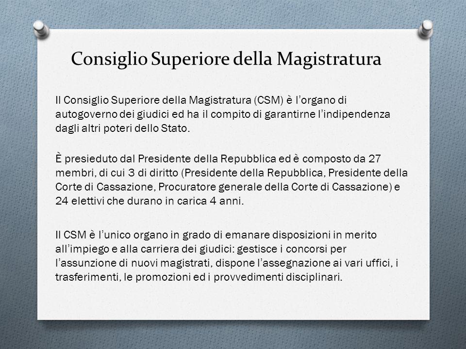 Consiglio Superiore della Magistratura Il Consiglio Superiore della Magistratura (CSM) è l organo di autogoverno dei giudici ed ha il compito di garan