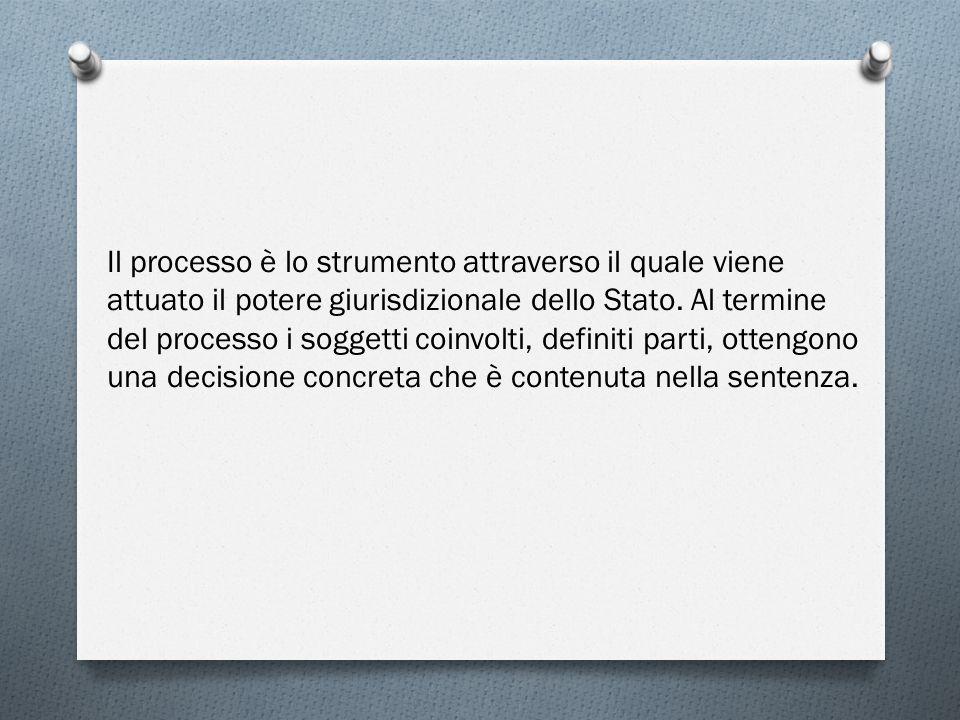 Il processo è lo strumento attraverso il quale viene attuato il potere giurisdizionale dello Stato. Al termine del processo i soggetti coinvolti, defi