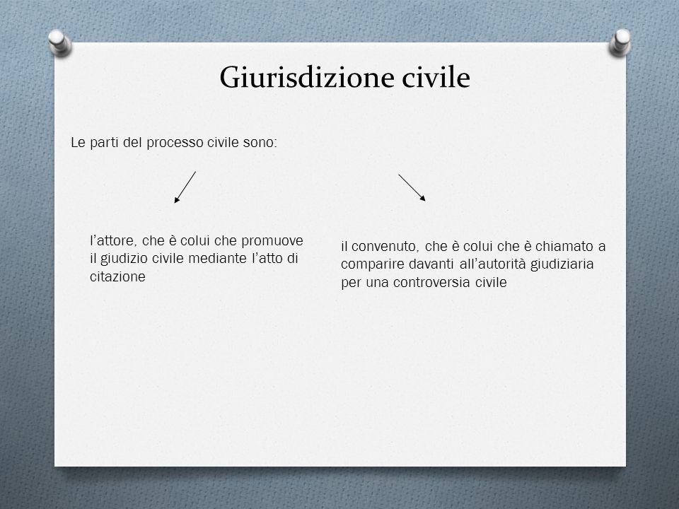Giurisdizione civile Le parti del processo civile sono: l attore, che è colui che promuove il giudizio civile mediante l atto di citazione il convenut