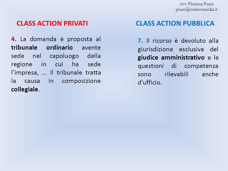 CLASS ACTION PUBBLICACLASS ACTION PRIVATI 4. La domanda è proposta al tribunale ordinario avente sede nel capoluogo della regione in cui ha sede limpr