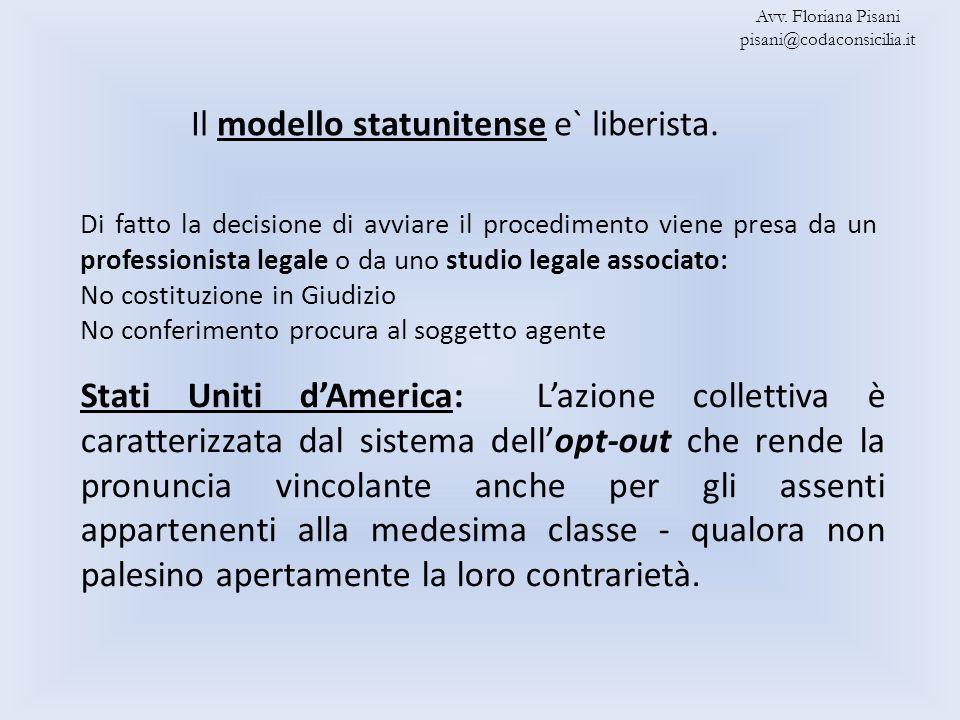 Il modello statunitense e` liberista. Avv. Floriana Pisani pisani@codaconsicilia.it Stati Uniti dAmerica: Lazione collettiva è caratterizzata dal sist