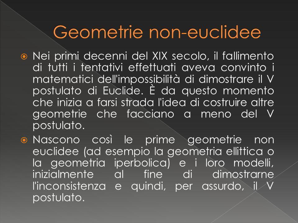 La geometria ellittica o di Riemann è stata ideata dal matematico Bernhard Riemann e nasce dalla negazione del V postulato di Euclide, che viene rimpiazzato dal postulato ellittico: Per un punto fuori di una retta non si può condurre alcuna retta ad essa parallela.
