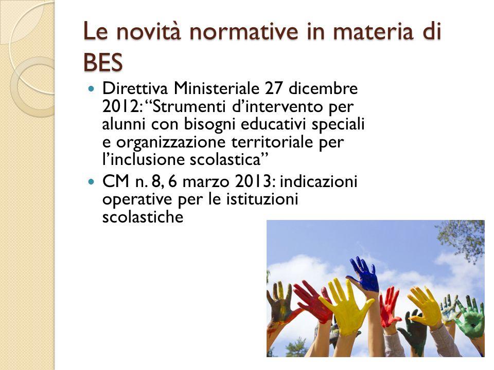 Le novità normative in materia di BES Direttiva Ministeriale 27 dicembre 2012: Strumenti dintervento per alunni con bisogni educativi speciali e organ