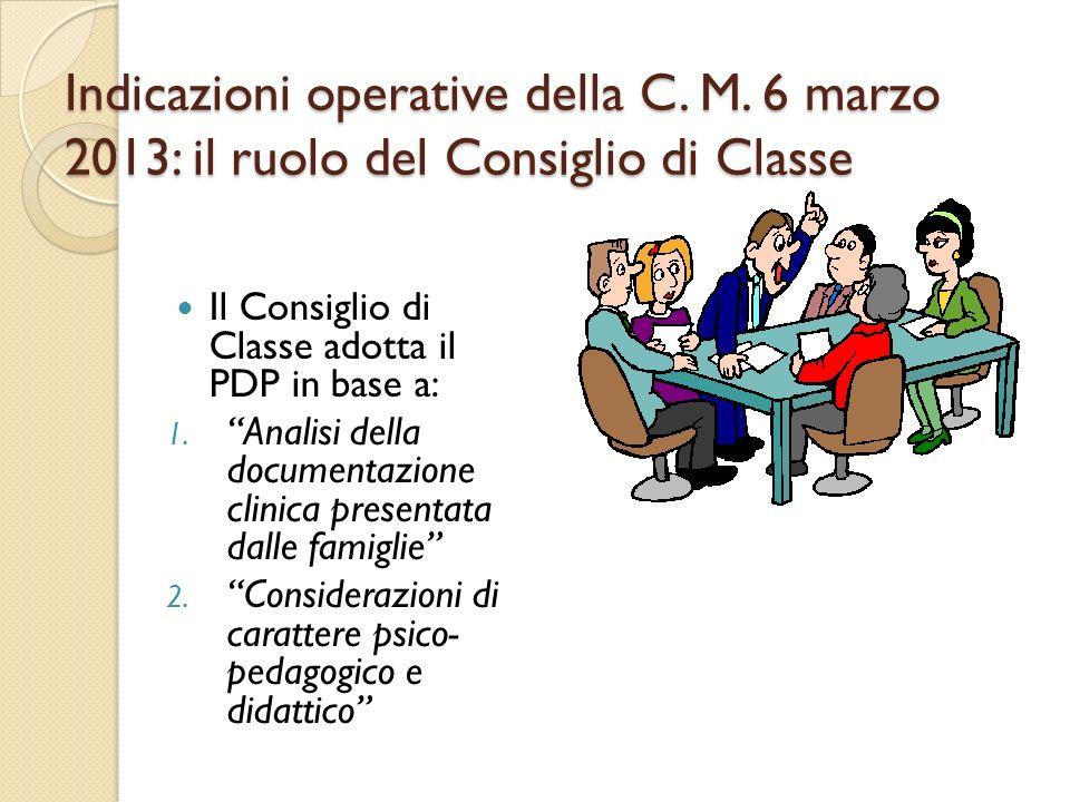 Indicazioni operative della C. M. 6 marzo 2013: il ruolo del Consiglio di Classe Il Consiglio di Classe adotta il PDP in base a: 1. Analisi della docu
