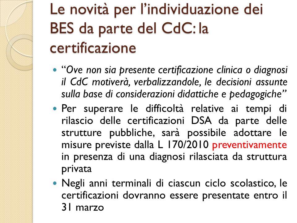 Le novità per lindividuazione dei BES da parte del CdC: la certificazione Ove non sia presente certificazione clinica o diagnosi il CdC motiverà, verb