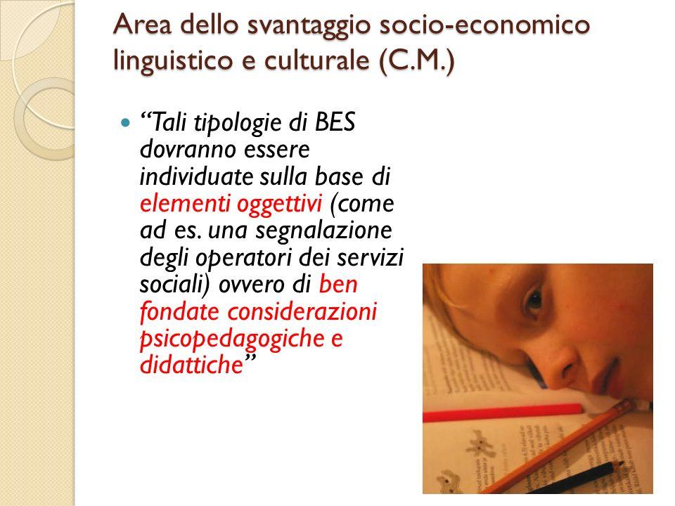 Area dello svantaggio socio-economico linguistico e culturale (C.M.) Tali tipologie di BES dovranno essere individuate sulla base di elementi oggettiv