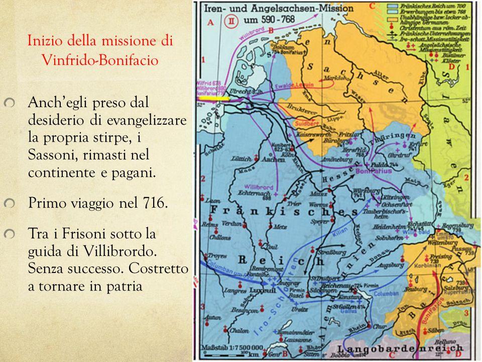 Inizio della missione di Vinfrido-Bonifacio Anchegli preso dal desiderio di evangelizzare la propria stirpe, i Sassoni, rimasti nel continente e pagan
