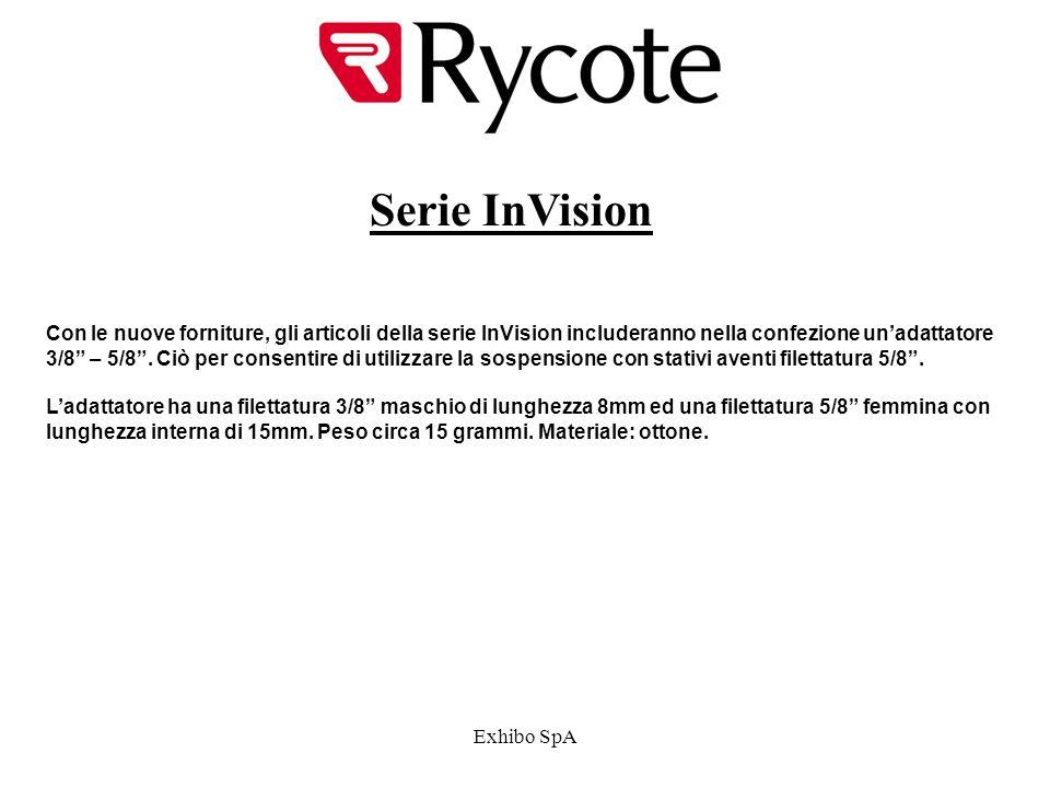Exhibo SpA Serie InVision Con le nuove forniture, gli articoli della serie InVision includeranno nella confezione unadattatore 3/8 – 5/8.