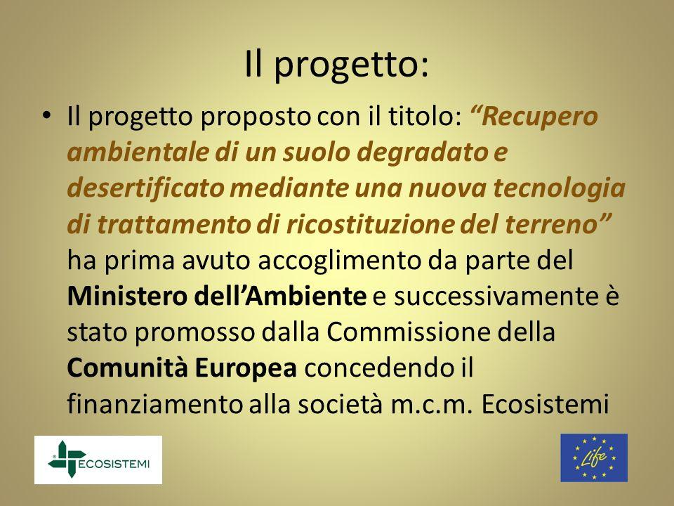 Il progetto: Il progetto proposto con il titolo: Recupero ambientale di un suolo degradato e desertificato mediante una nuova tecnologia di trattament