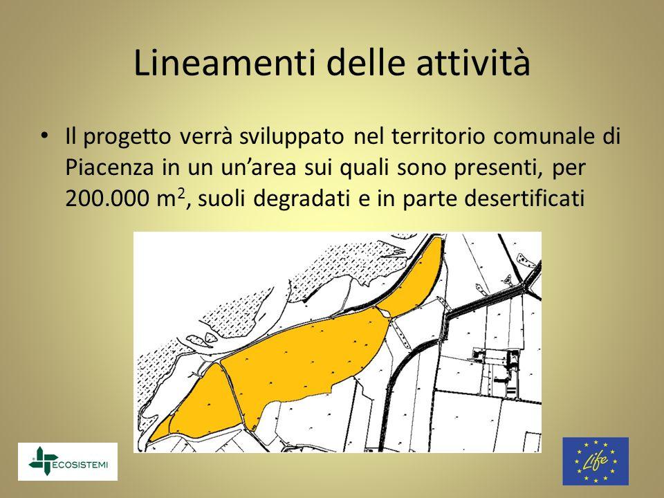 Lineamenti delle attività Il progetto verrà sviluppato nel territorio comunale di Piacenza in un unarea sui quali sono presenti, per 200.000 m 2, suol