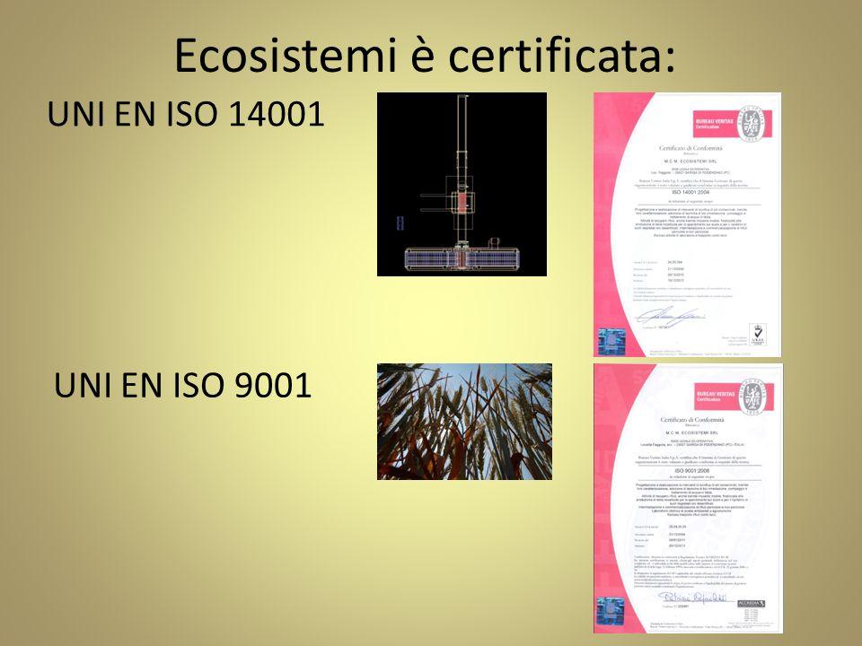 Ecosistemi è certificata: UNI EN ISO 14001 UNI EN ISO 9001