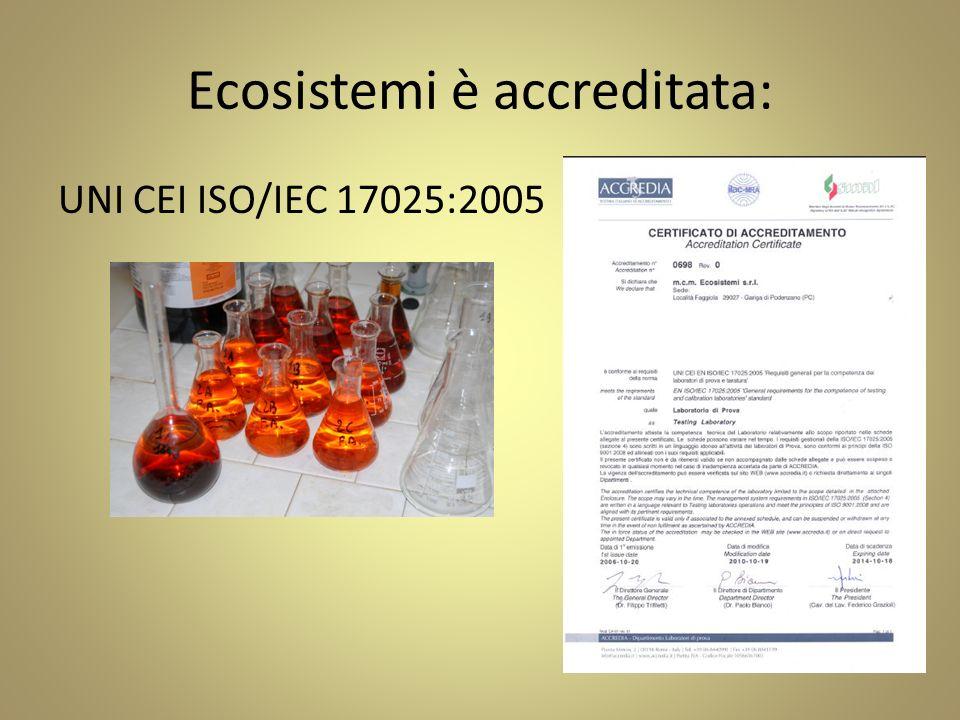 Ecosistemi è accreditata: UNI CEI ISO/IEC 17025:2005