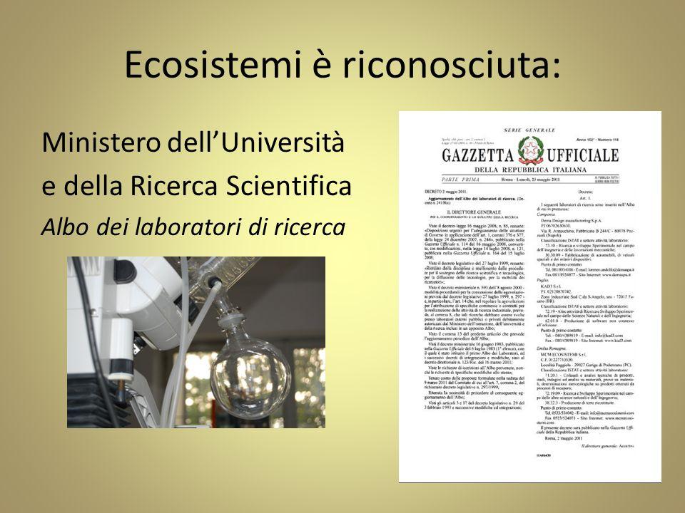 Ecosistemi è riconosciuta: Ministero dellUniversità e della Ricerca Scientifica Albo dei laboratori di ricerca