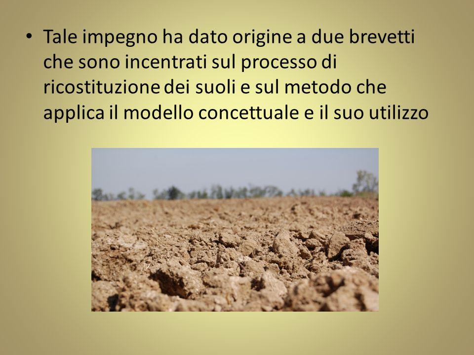 Tale impegno ha dato origine a due brevetti che sono incentrati sul processo di ricostituzione dei suoli e sul metodo che applica il modello concettua