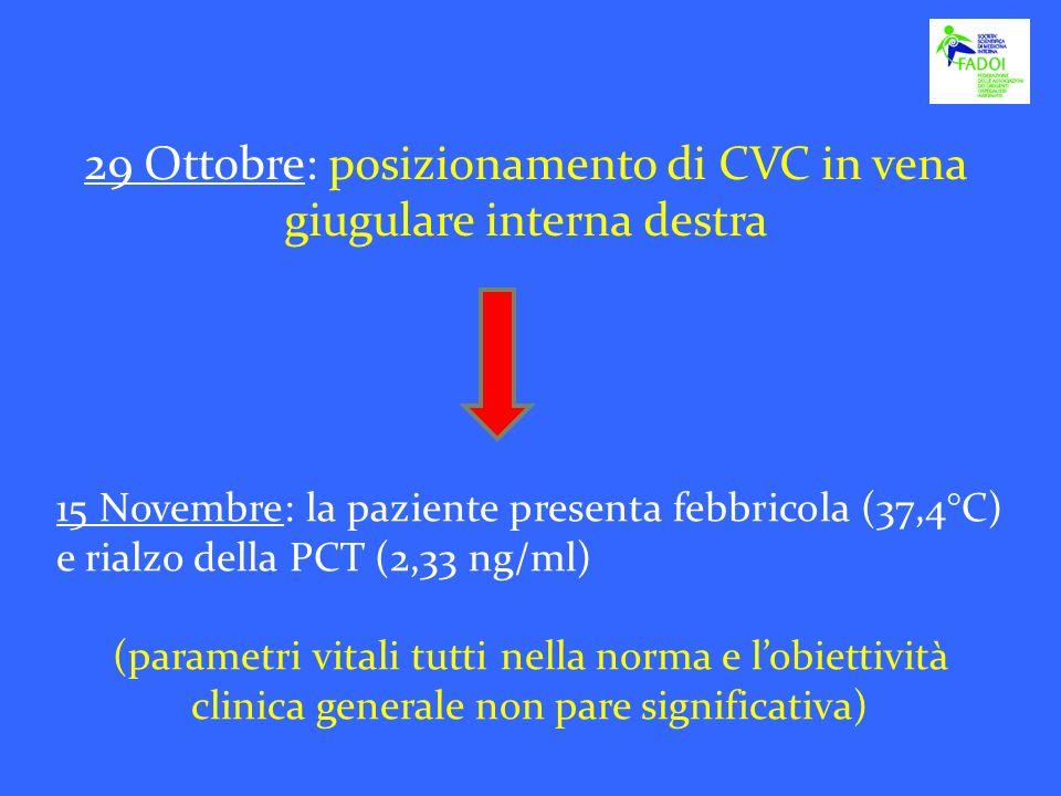 15 Novembre: la paziente presenta febbricola (37,4°C) e rialzo della PCT (2,33 ng/ml) (parametri vitali tutti nella norma e lobiettività clinica gener