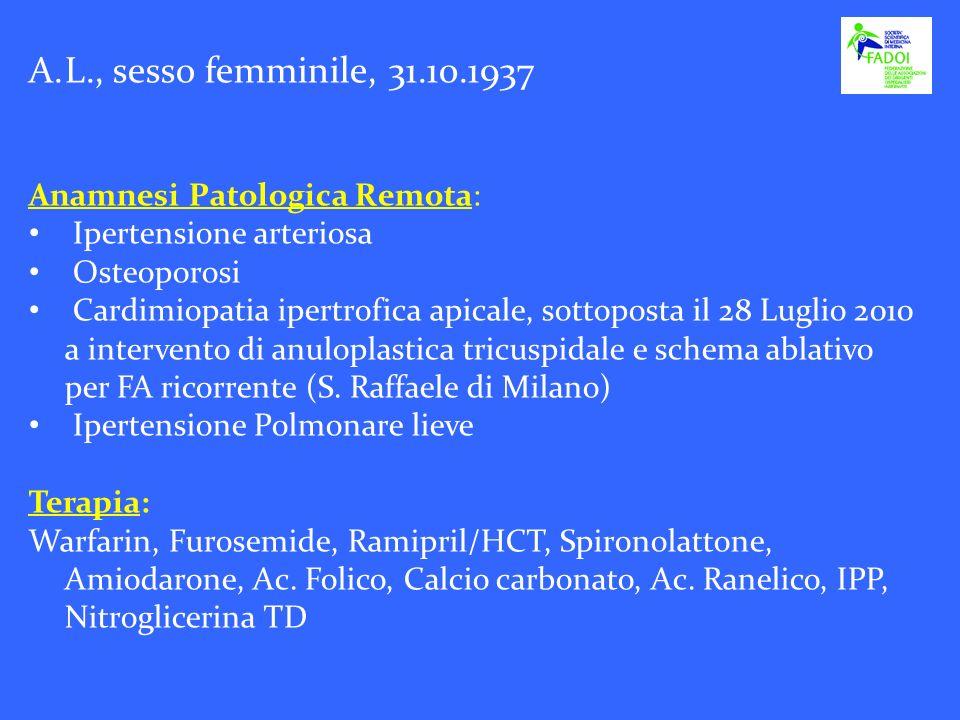 A.L., sesso femminile, 31.10.1937 Anamnesi Patologica Remota: Ipertensione arteriosa Osteoporosi Cardimiopatia ipertrofica apicale, sottoposta il 28 L
