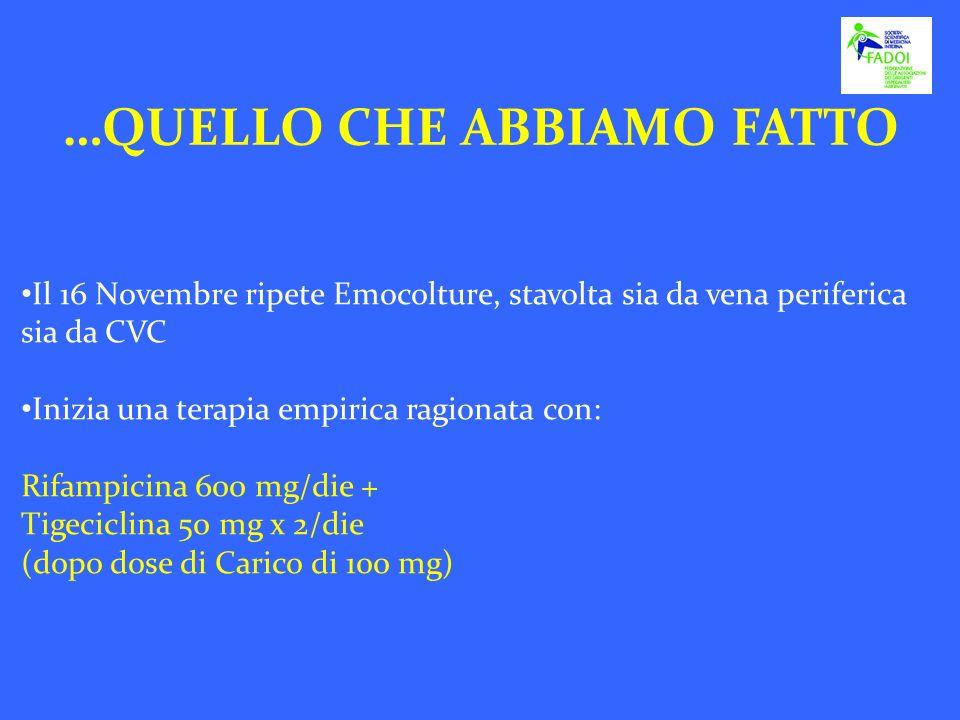 Il 16 Novembre ripete Emocolture, stavolta sia da vena periferica sia da CVC Inizia una terapia empirica ragionata con: Rifampicina 600 mg/die + Tigec