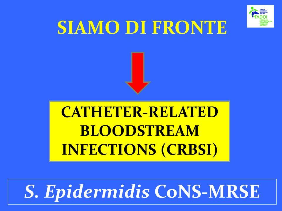 SIAMO DI FRONTE CATHETER-RELATED BLOODSTREAM INFECTIONS (CRBSI) S. Epidermidis CoNS-MRSE