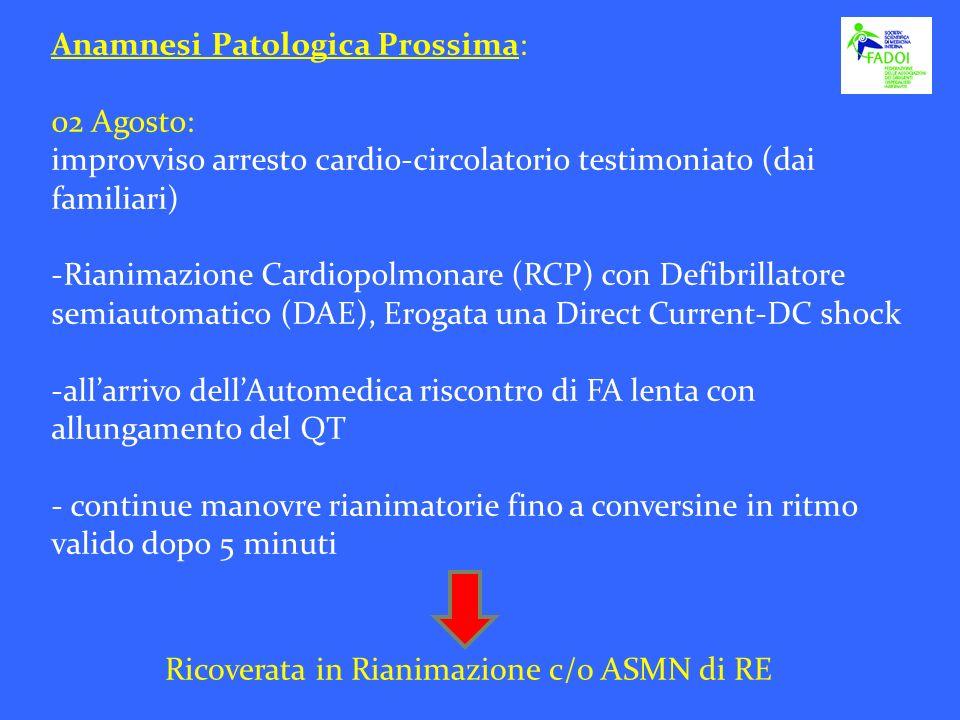 Anamnesi Patologica Prossima: 02 Agosto: improvviso arresto cardio-circolatorio testimoniato (dai familiari) -Rianimazione Cardiopolmonare (RCP) con D