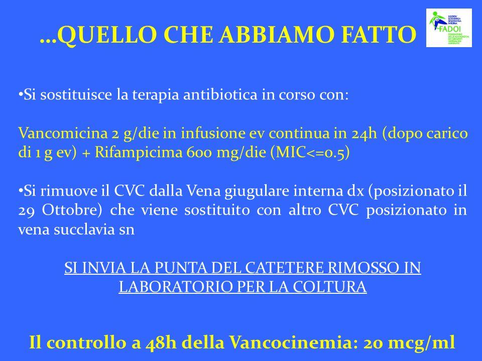 Si sostituisce la terapia antibiotica in corso con: Vancomicina 2 g/die in infusione ev continua in 24h (dopo carico di 1 g ev) + Rifampicima 600 mg/d