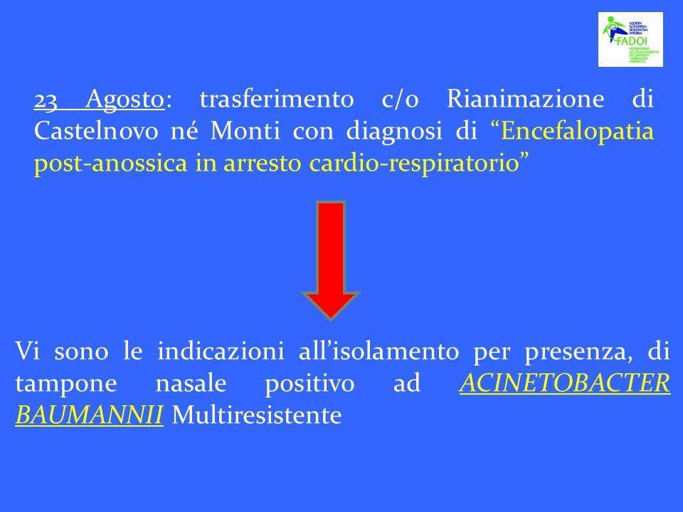 23 Agosto: trasferimento c/o Rianimazione di Castelnovo né Monti con diagnosi di Encefalopatia post-anossica in arresto cardio-respiratorio Vi sono le