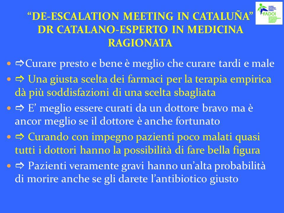 DE-ESCALATION MEETING IN CATALUÑA DR CATALANO-ESPERTO IN MEDICINA RAGIONATA Curare presto e bene è meglio che curare tardi e male Una giusta scelta de