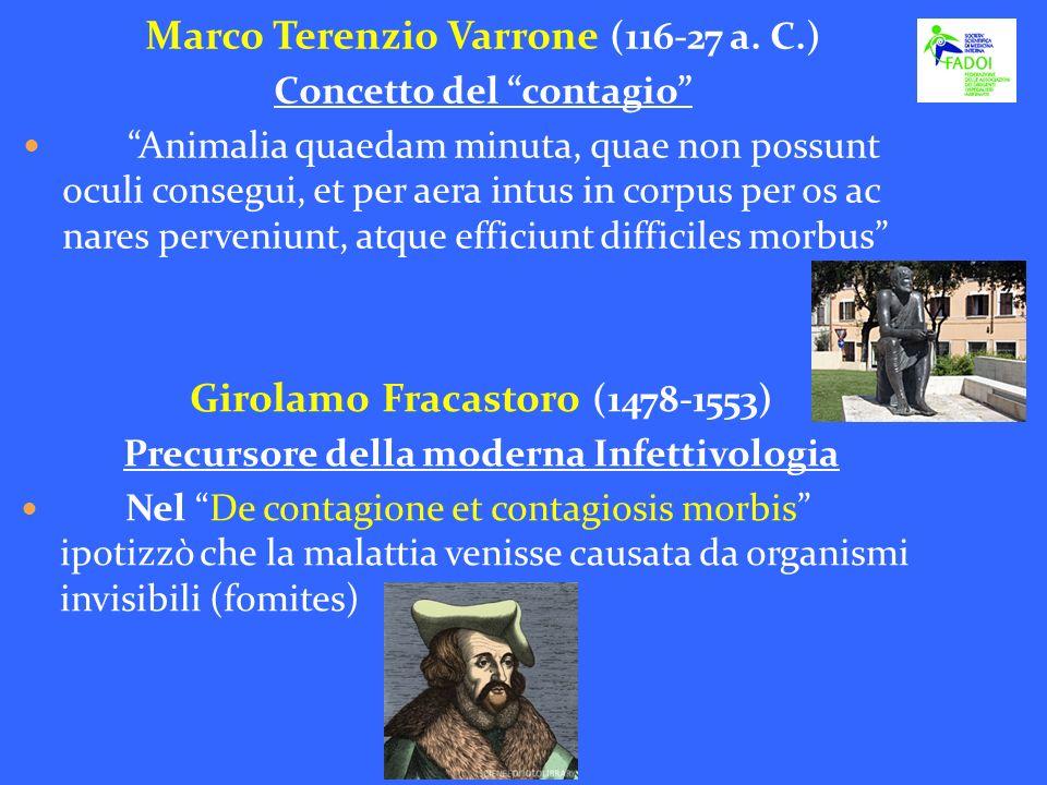 Marco Terenzio Varrone (116-27 a. C.) Concetto del contagio Animalia quaedam minuta, quae non possunt oculi consegui, et per aera intus in corpus per