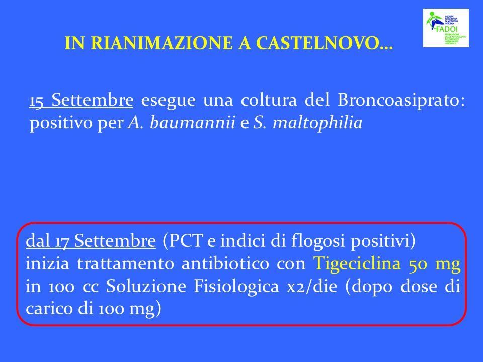 IN RIANIMAZIONE A CASTELNOVO… 15 Settembre esegue una coltura del Broncoasiprato: positivo per A. baumannii e S. maltophilia dal 17 Settembre (PCT e i