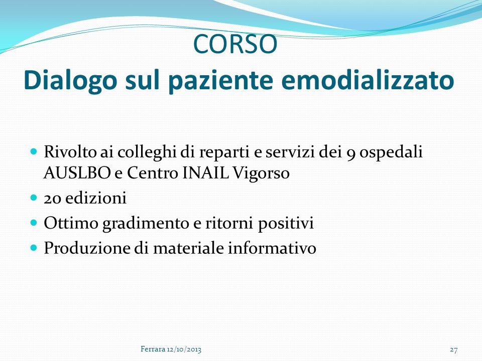 CORSO Dialogo sul paziente emodializzato Rivolto ai colleghi di reparti e servizi dei 9 ospedali AUSLBO e Centro INAIL Vigorso 20 edizioni Ottimo grad