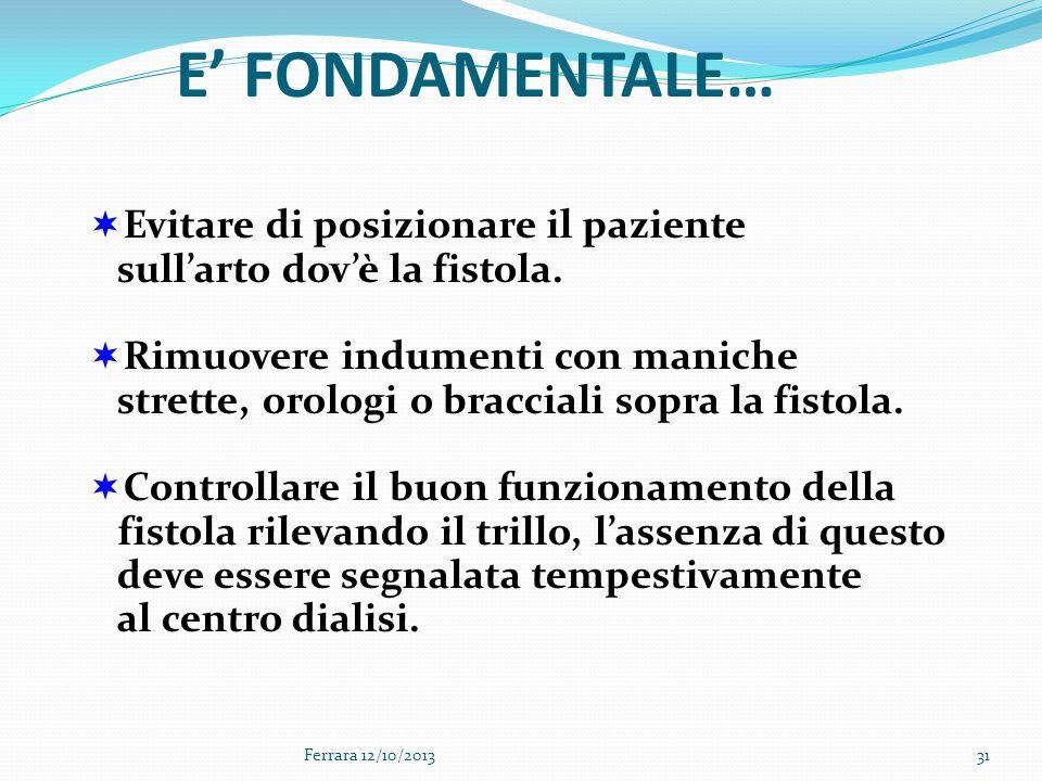Ferrara 12/10/201331 Evitare di posizionare il paziente sullarto dovè la fistola. Rimuovere indumenti con maniche strette, orologi o bracciali sopra l