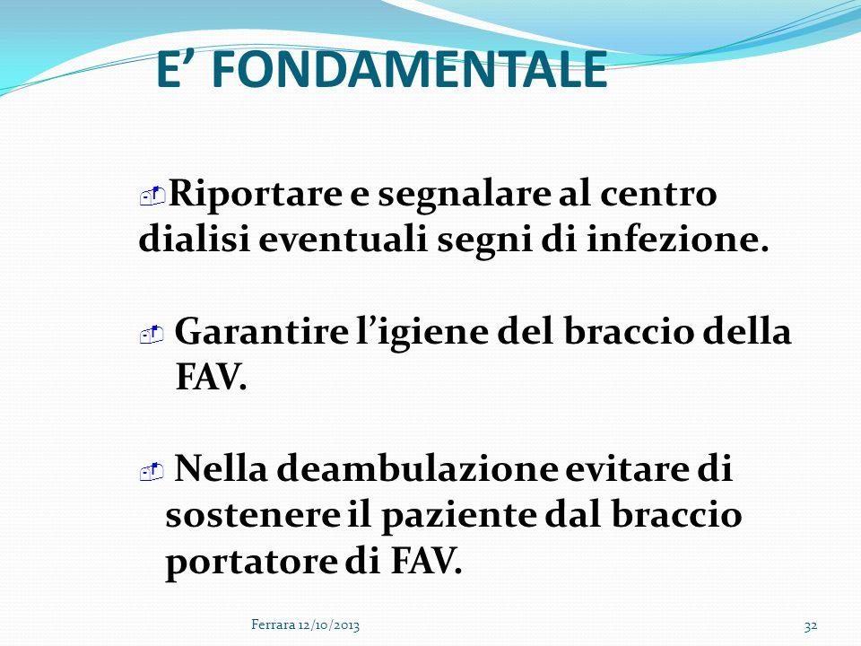 Ferrara 12/10/201332 Riportare e segnalare al centro dialisi eventuali segni di infezione. Garantire ligiene del braccio della FAV. Nella deambulazion