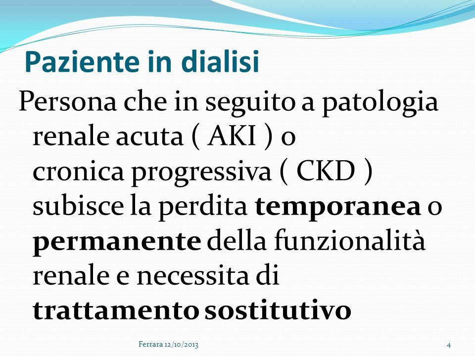 Trattamento sostitutivo TEMPORANEO Emodialisi (HD) PERMANENTE Dialisi peritoneale(PD) Emodialisi(HD) Trapianto di rene Ferrara 12/10/20135