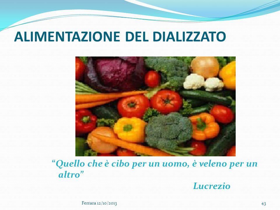 43 ALIMENTAZIONE DEL DIALIZZATO Quello che è cibo per un uomo, è veleno per un altro Lucrezio Ferrara 12/10/2013