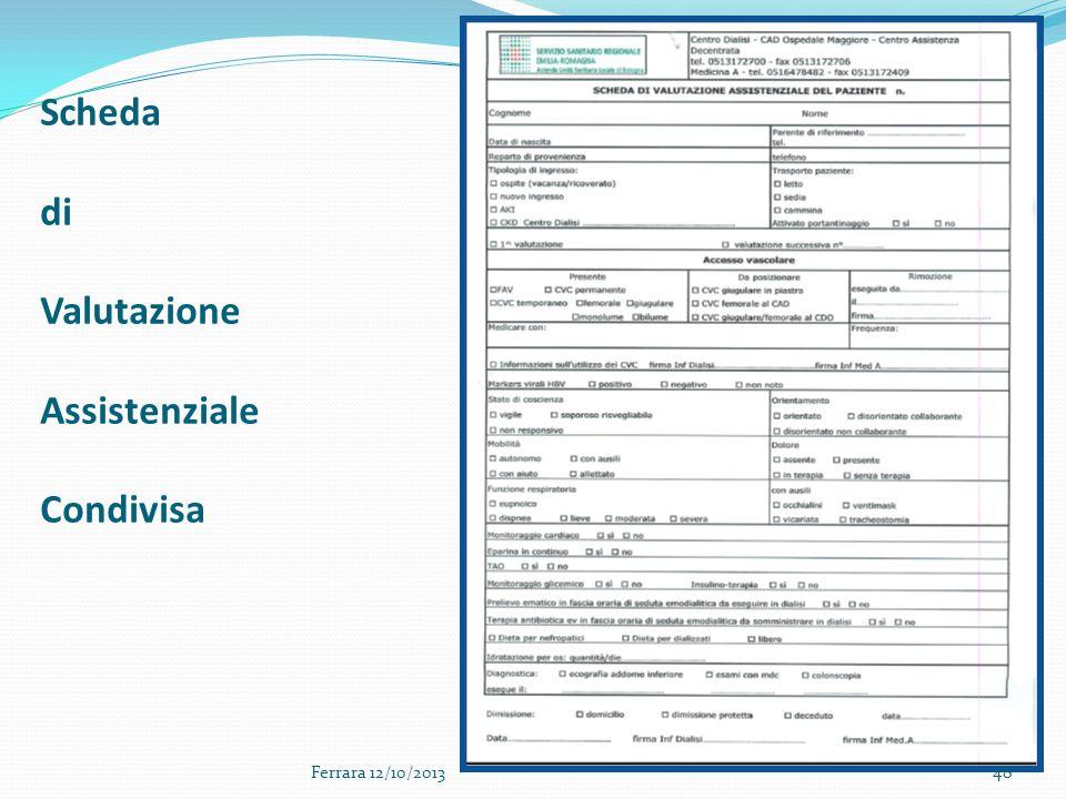 Scheda di Valutazione Assistenziale Condivisa 48Ferrara 12/10/2013